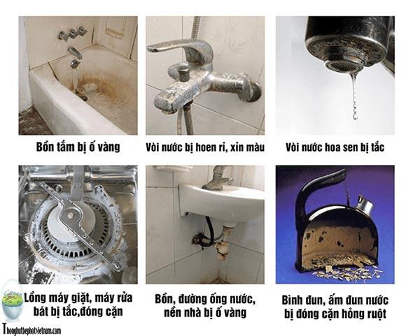 2. Những dấu hiệu để bạn nhận biết nước đã bị nhiễm Canxi và quá trình hình thành cặn Canxi trong vòi nước, các thiết bị đồ dùng trong gia đình.